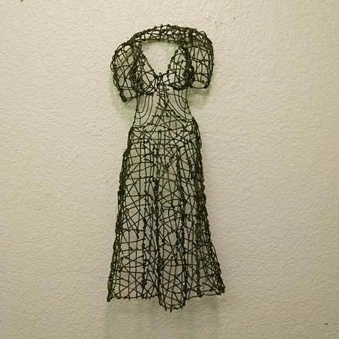 wire, sculpture, San Francisco artist, Kristine Mays, dresses