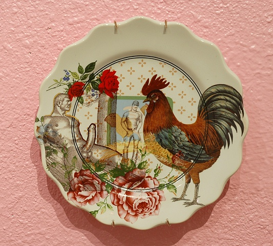 chickens plate, dining room installation, detail