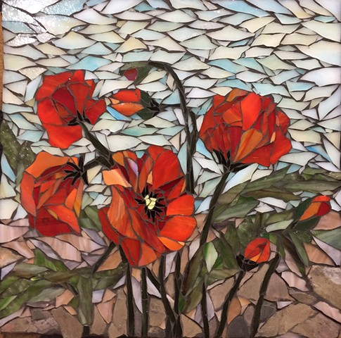 Stained Glass Mosaic Floral, Poppy
