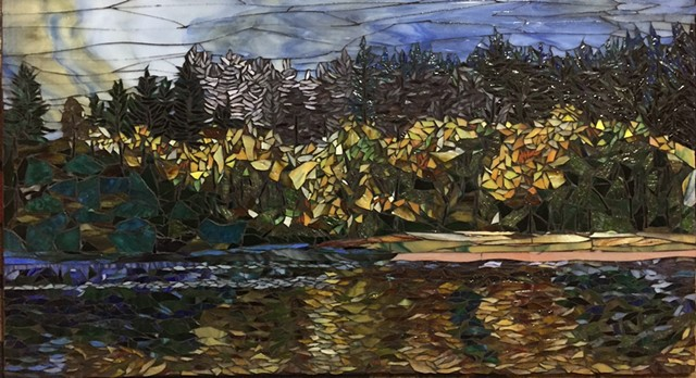 Stained Glass Mosaic, Landscape, Fall, Water, Trees