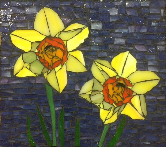 Stained Glass Mosaic, Floral, Daffodil