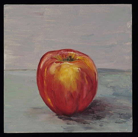 oil on panel of single apple