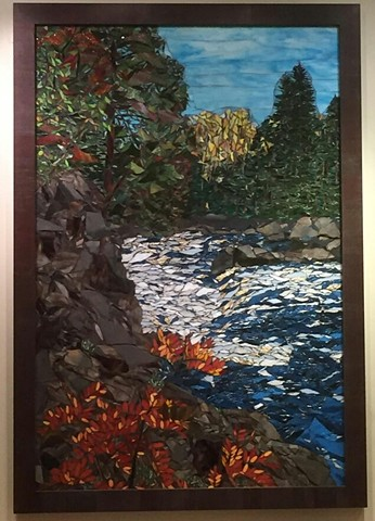Stained Glass Mosaic, Landscape, Trees, Rocks, Stream, Large mural