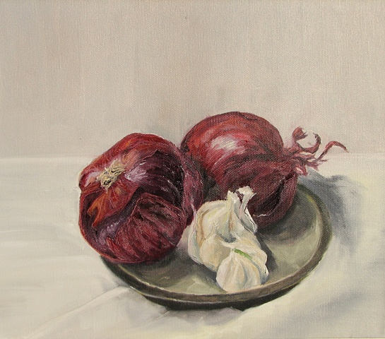 Oil on canvas, red onions/white garlic