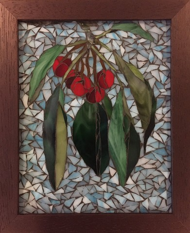 Stained Glass Mosaic, Fruit, Cherries