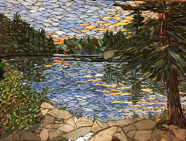 Stained Glass Mosaic, Slate, Lake, trees, Landscape