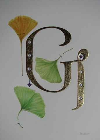 watercolor & gold-leaf on paper/ gingko leaves with initial