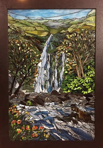 Stained Glass Mosaic, Landscape, Trees, Waterfall, Wildlife