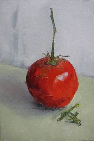 Oil on canvas, alla-prima tomato
