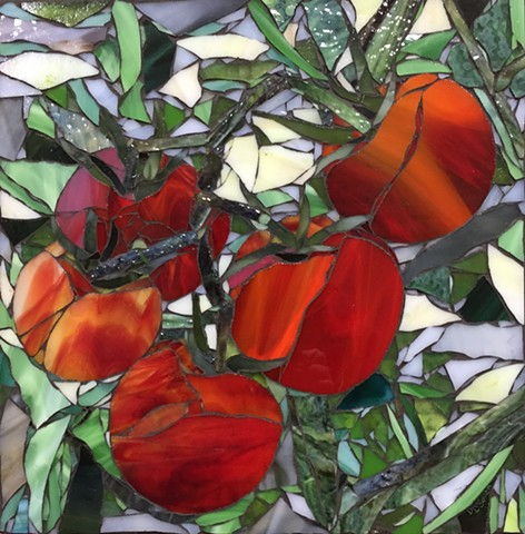 Stained Glass Mosaic, Fruit, Vegetable, Tomatoes