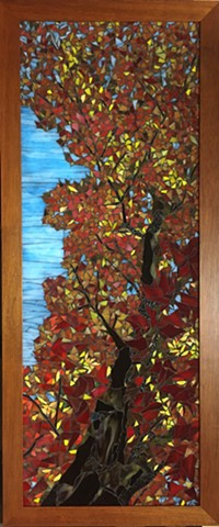 Stained Glass Mosaic, Landscape, Trees, Fall