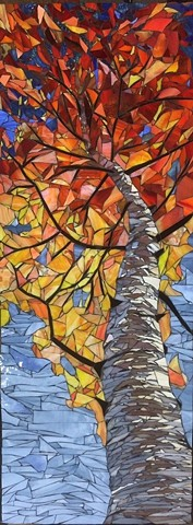Skyward Birch-Autumn, Stained glass mosaic