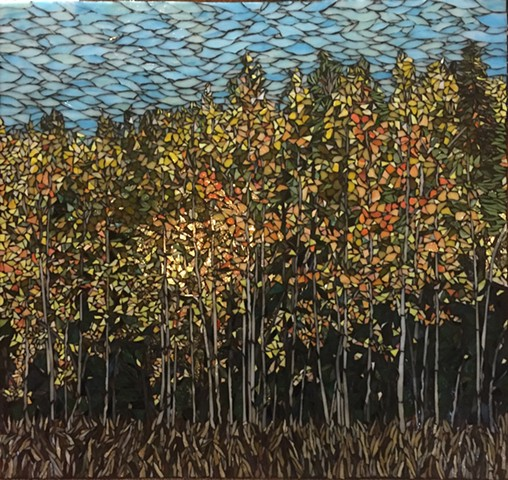 Stained Glass Mosaic, Trees, Landscape