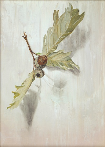 Oak leaves and acorn, oils painted on panel