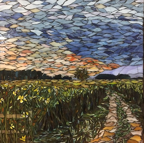 Stained Glass Mosaic, Floral, Cornfield, Trees, Landscape