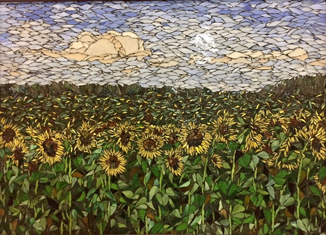 Stained Glass Mosaic Floral, Sunflower Field