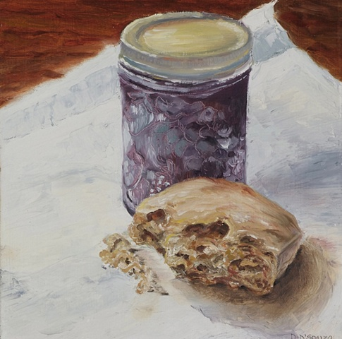 oil on panel of jar of jam with bread crust