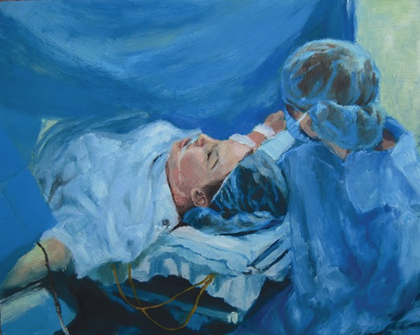 The Cesarean Section, a painting by Jennifer Bishop