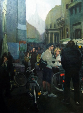 Piazza San Babila Milan, a painting by Jennifer Bishop