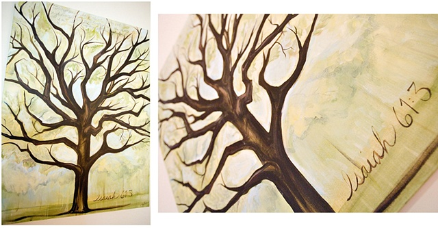 Scripture art, Isaiah 61:3, tree painting, Acrylic paintings