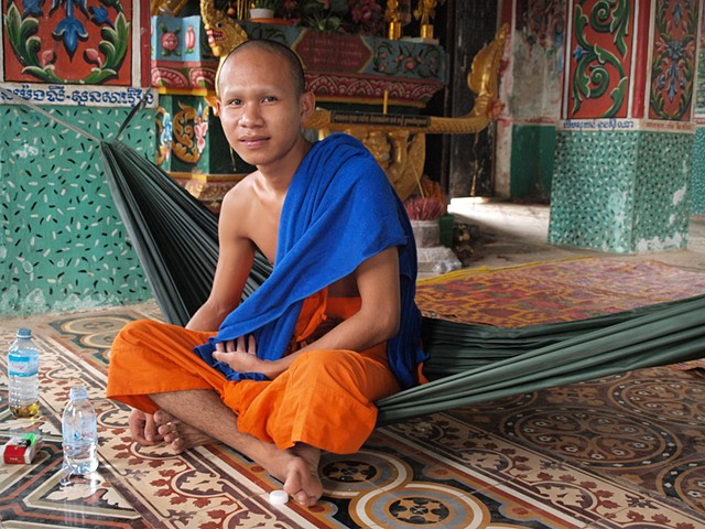 Monk in a village temple