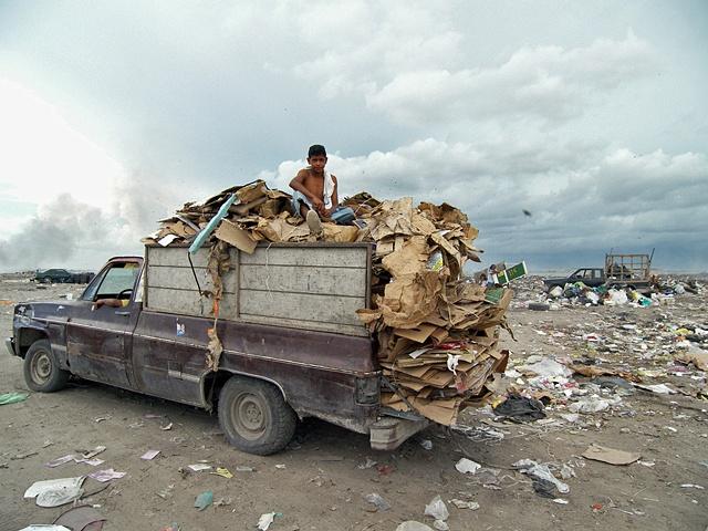 Truckload of cardboard