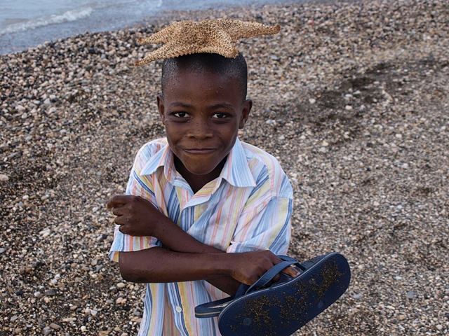 Boy with starfish