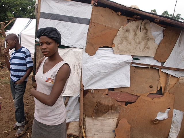 A home of cardboard Tent camp Léogâne