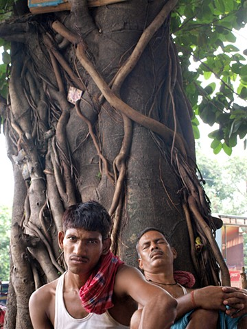 Men under tree, Kolkata