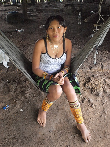 Kuna woman in hammock, Darien Jungle