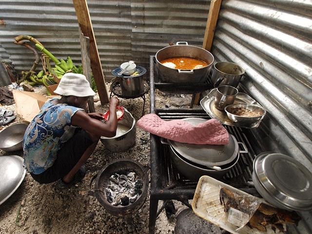 Food preparation at the orphanage
