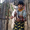 Kuna woman with dog San Blas Islands