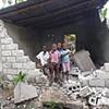Children by demolished home Léogâne