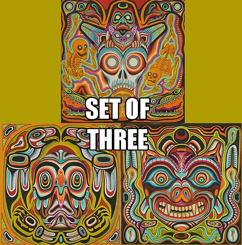 Set of three Psychedelic Totems