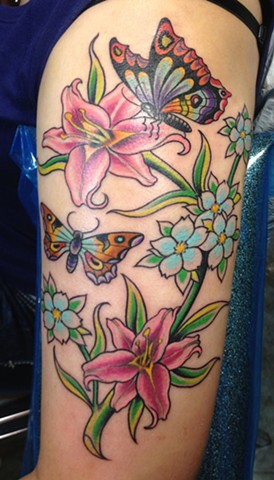 Butterflies and Lillies