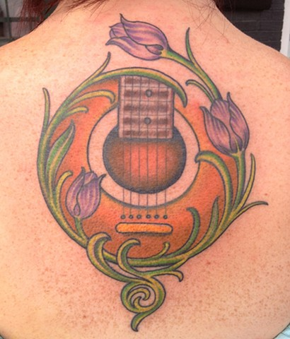 Guitar and tulips