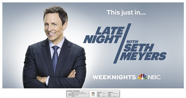 NBCUniversal Late Night Seth Meyers / 49th St NBC Lobby Window Recreate background. Create final mechanical.
