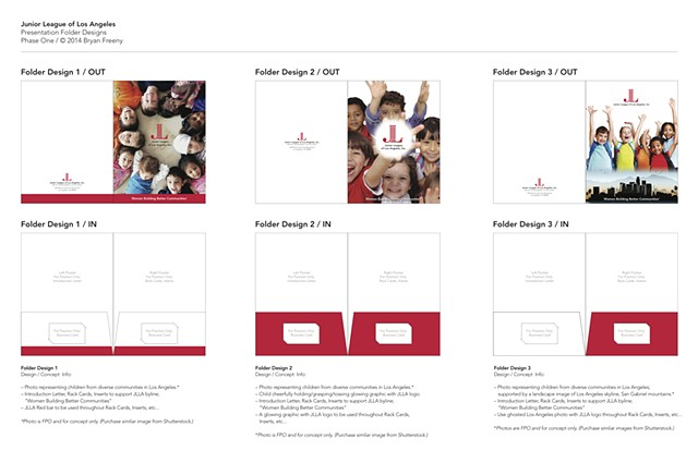 Junior League of Los Angeles Comprehensive Marketing Press Kit Concepts / Presentation Folder / Phase 1