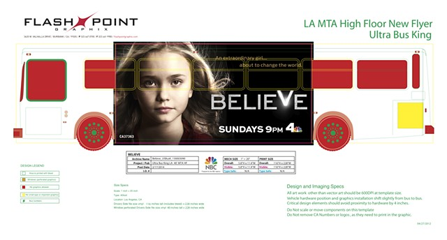 NBCUniversal Believe / Bus Wrap Image manipulation to make title treatment read better in hair. Create final mechanical.