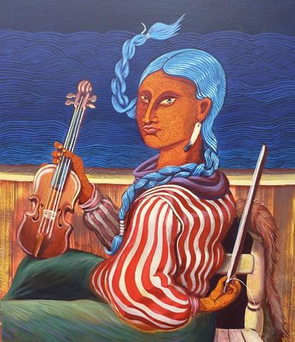 Native girl takes performance break on Mississippi river boat near Memphis.