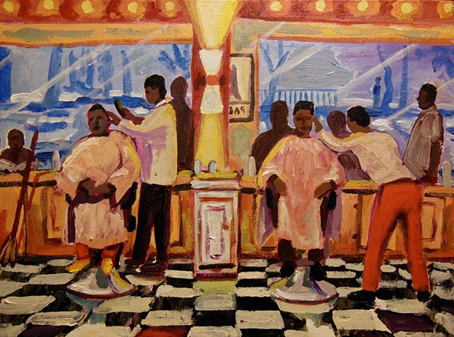 "Hyde Park Barber shop... i walk in and heads turn.. i ask ""do you cut white hair? "" ""yeah baby, every body needs to be pampered"""