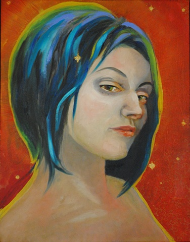 portrait, woman, blue hair, handmade paper, oil paint