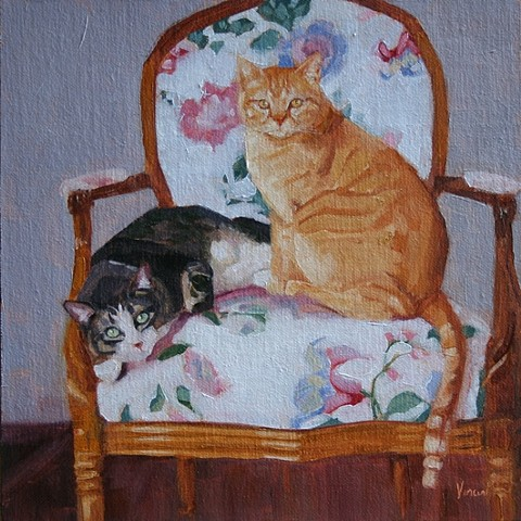 oil painting, cat, chair, commission, pet portrait, Patti Vincent, art, cat painting, cats