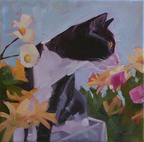 cat flowers painting oil painting patti vincent sold