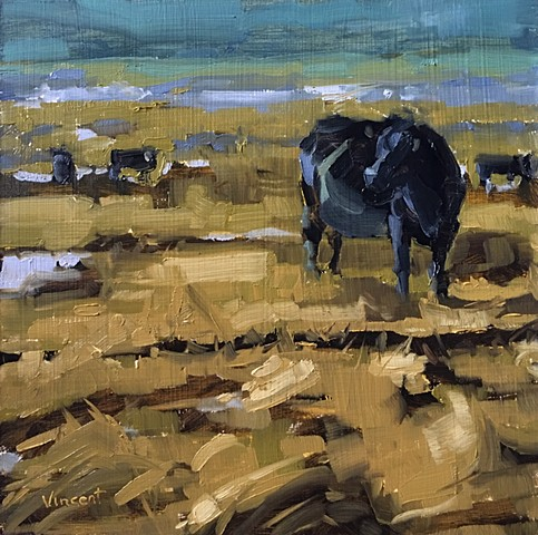 Cow painting, animal art, landscape painting with cows, oil painting