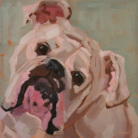 dog painting, dog art, commissioned pet portrait, puppy, oil painting