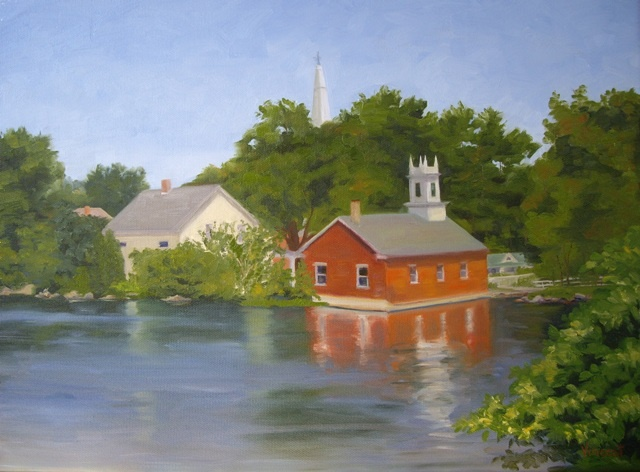 Commission, oil painting, village, church