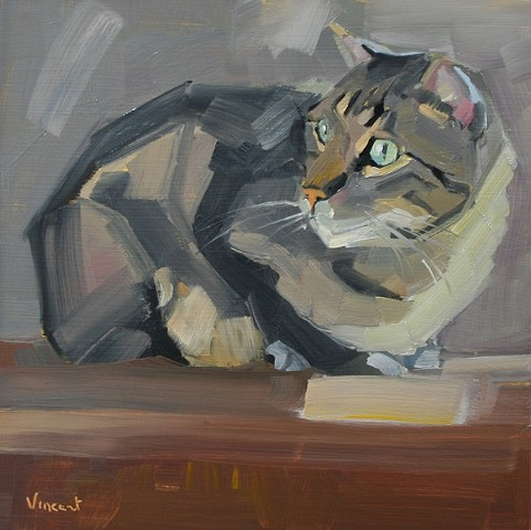 cat art, cat painting, cat oil painting, feline painting,