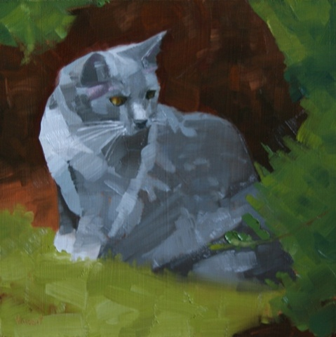 cat pet portrait, painting, small painting, cat, grey cat