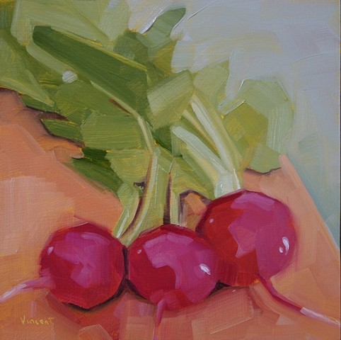 organic radishes oil painting patti vincent